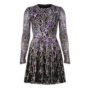Badgley Mischka Purple Floral Embroidered Dress